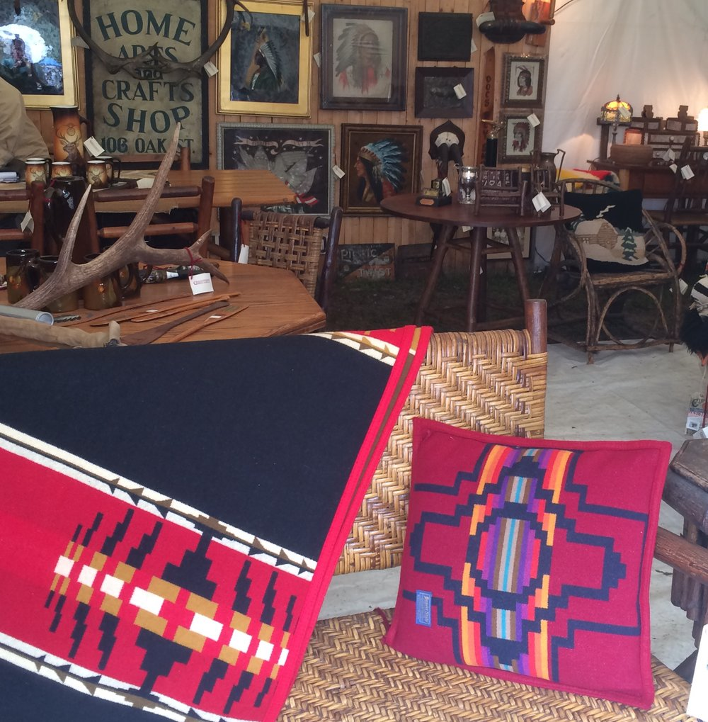 The Pendleton blankets in this booth were gorgeous and meticulously maintained.