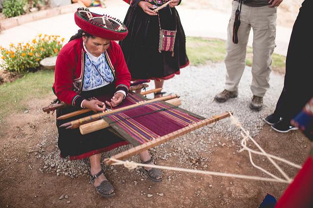 Hand weaving in action.