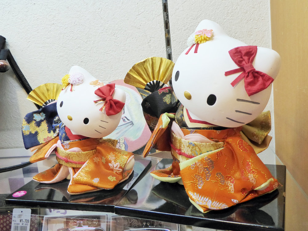 Even the Hello Kitty dolls in Kyoto wear kimonos