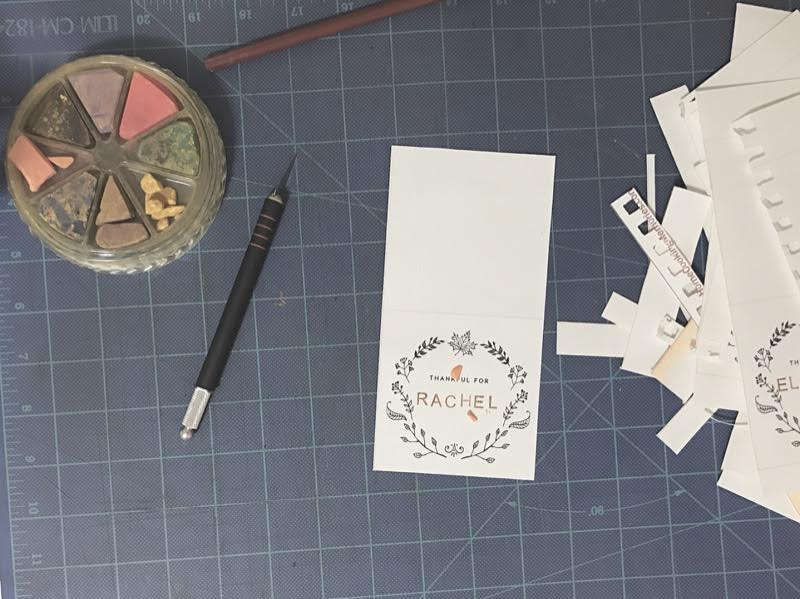 Printed & Stamped Name Tag Place Settings
