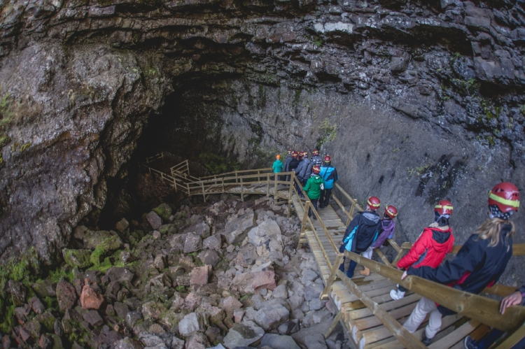 lava tubes, giant caves made by past eruptions of volcanoes --Víðgelmir