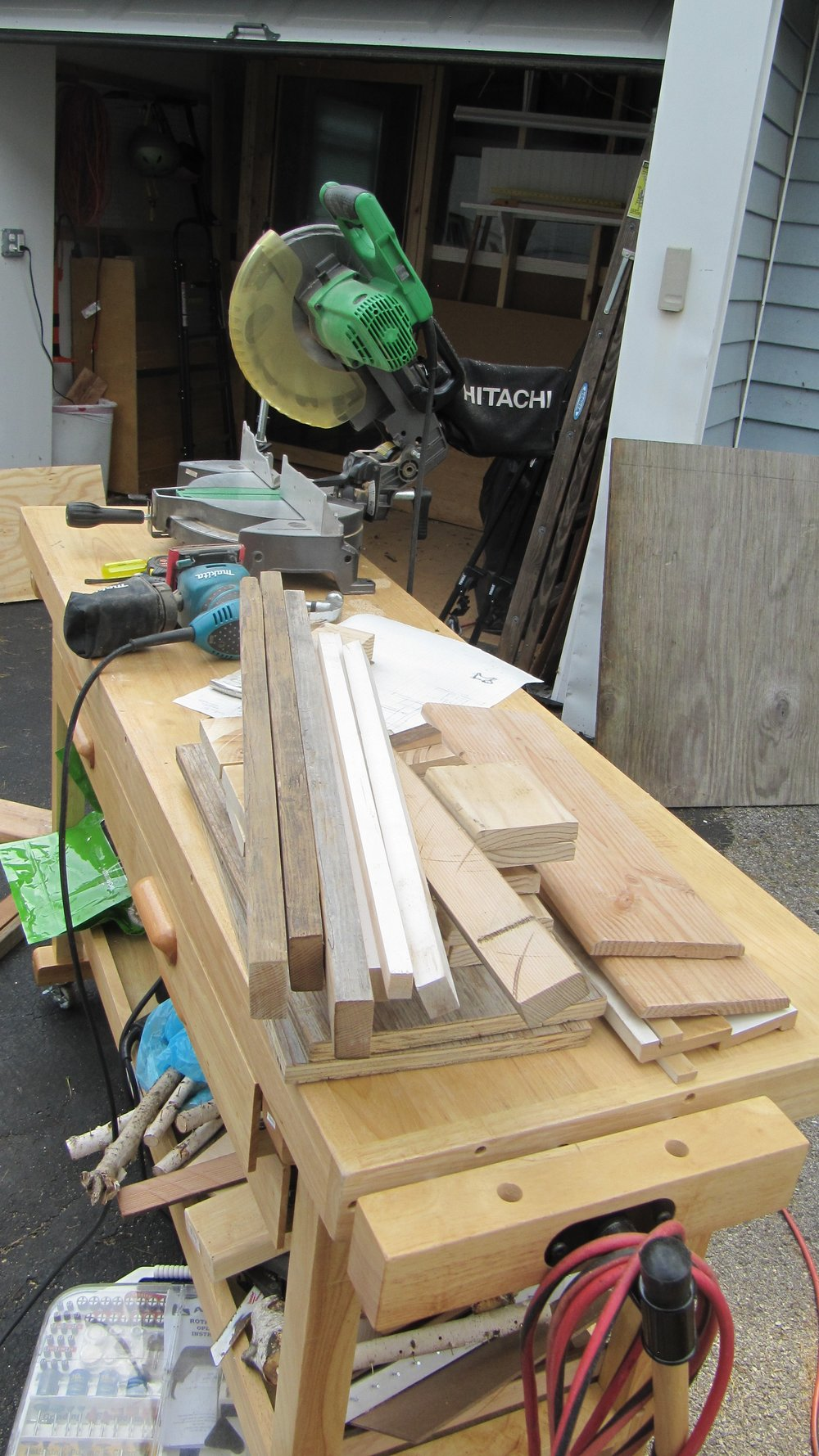 Cutting up all the pieces.  And all my tools are cheap - I'm not making fine furniture, after all.