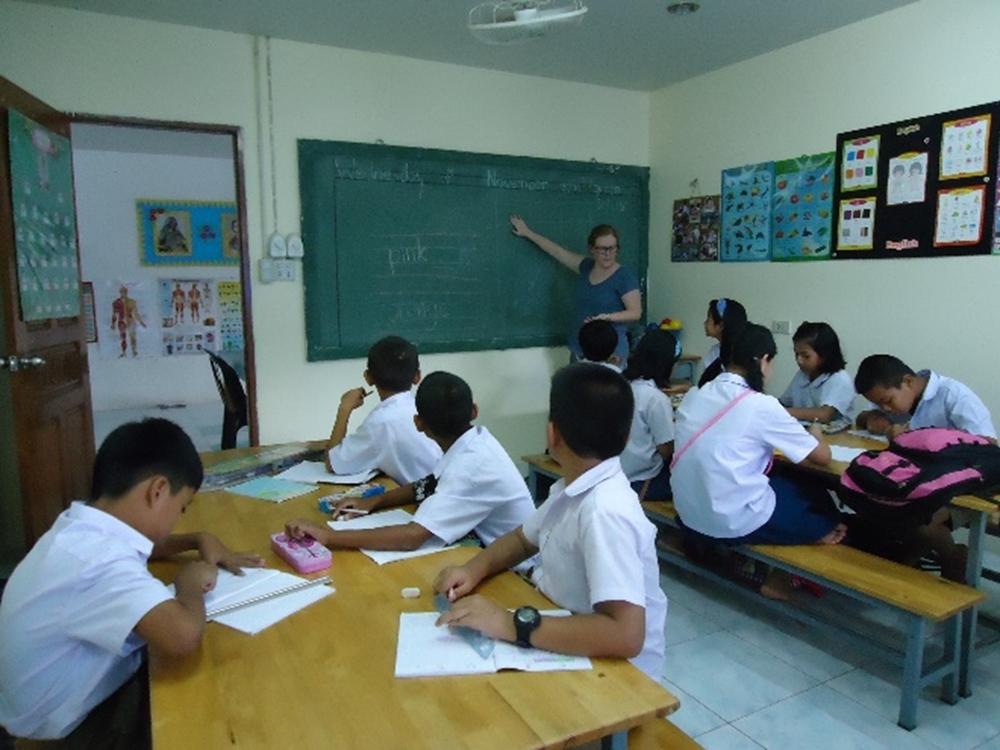 Kim teaching English