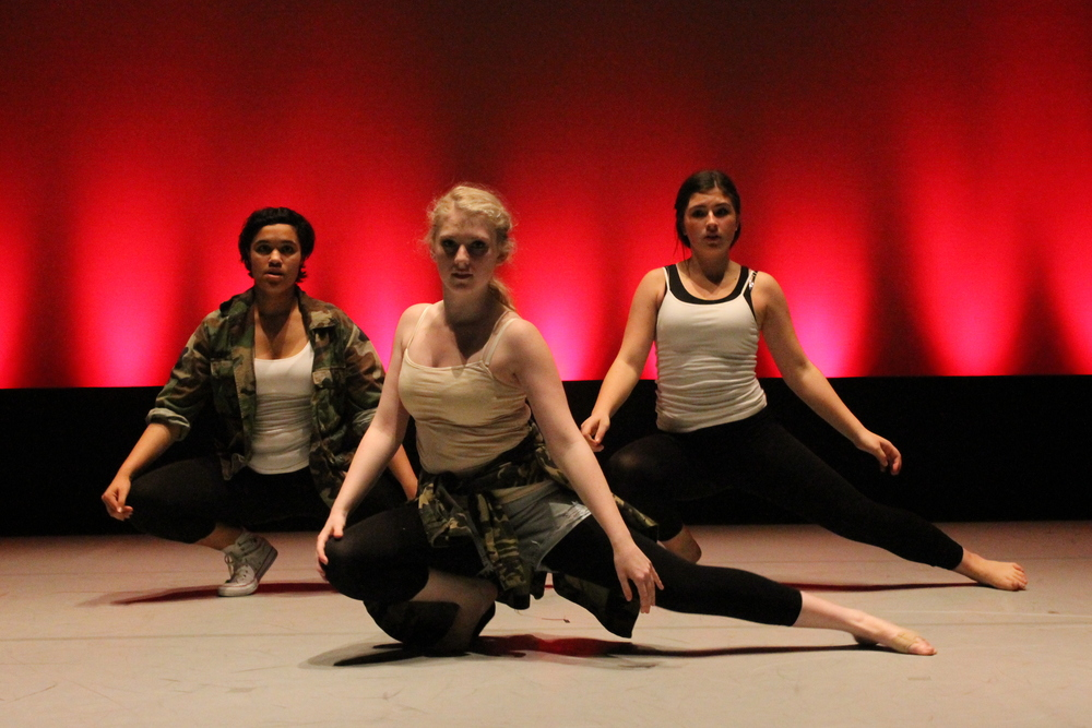 _____________________, ________________________, and __________________________ perform a dance piece choreographed by Nicole Dubuque '12