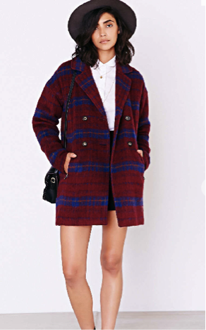 Wool plaid coat available at Urban Outfitters