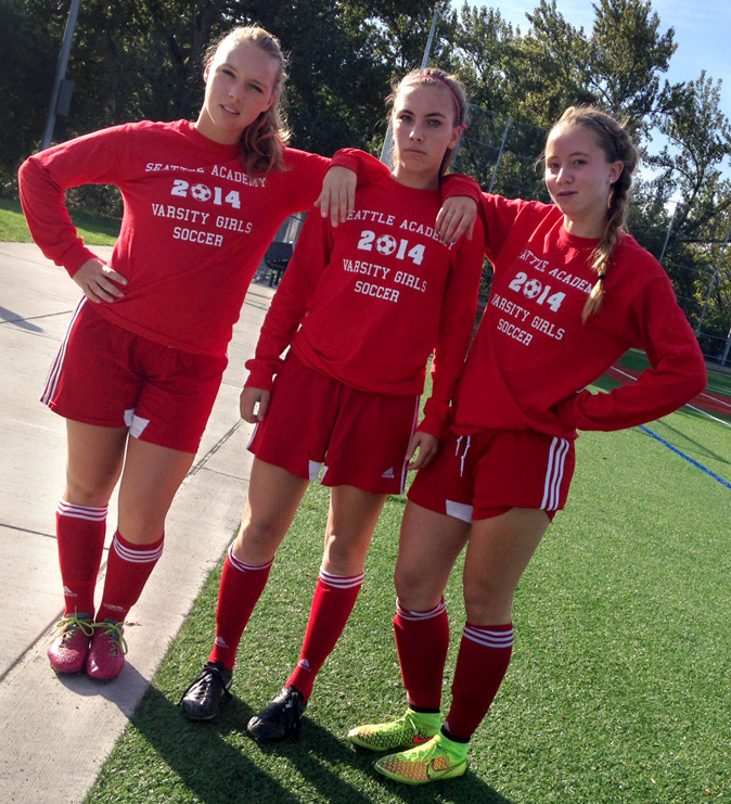 Senior captains Tayla MacPherson, Lucy Halperin, and Megan Barwick (from left).