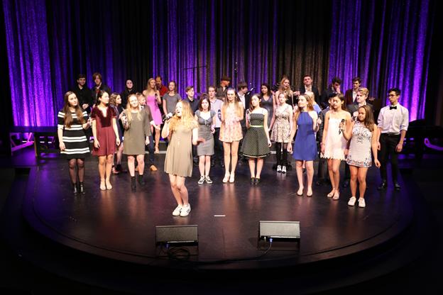 Vocal Ensemble featured Avi Magaram '17, Nash Queary '17, Madolyn Laurine '17, Lauren Baty '19, Clair Colee '19, Makena Kerns '19, Kellen O'Brien '17, Ben Sievers '18, Chas Rinne '19, Sadie Chaplan '18, Juniper Darrow '17, Van Senseney '19, Karl Johnson '18, Clara Cimino '17, Sarah Woo '17, Elsa Aitchison '19, Natalie Rezek '19, Lila Sangster '18, Stanley Whitfield '17, Jaidyn Lam '18, Erik Rinn '17, Luca Rogoff '18, Oscar Zorn '19, Emily Rinn '19, Ian Lock '19, Cici Carter '19, Sarah Gustafson '17, Lily Staton '18, Natalie White '18, Emily Rubin '17, Luna Hotchkiss-Blackledge '19. Photo by Megan Conklin.
