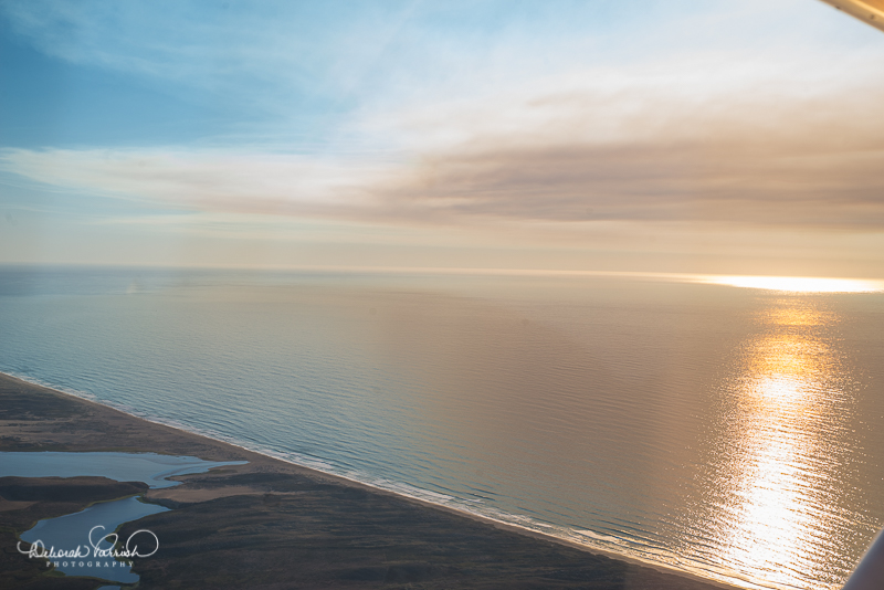 The Pacific Ocean bathed in smoky sunlight