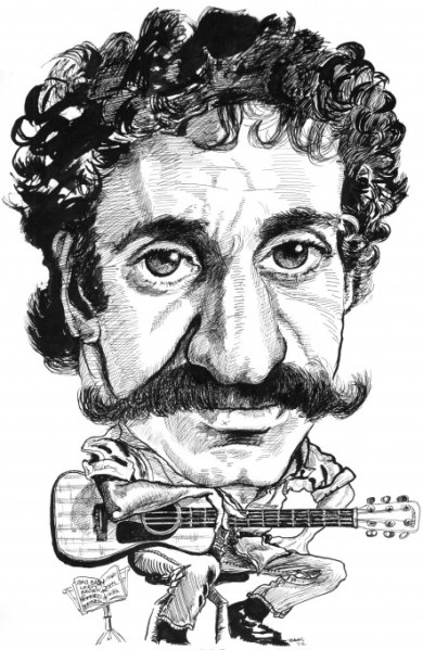 Jim Croce and his Guitar Drawing by Gene Haas