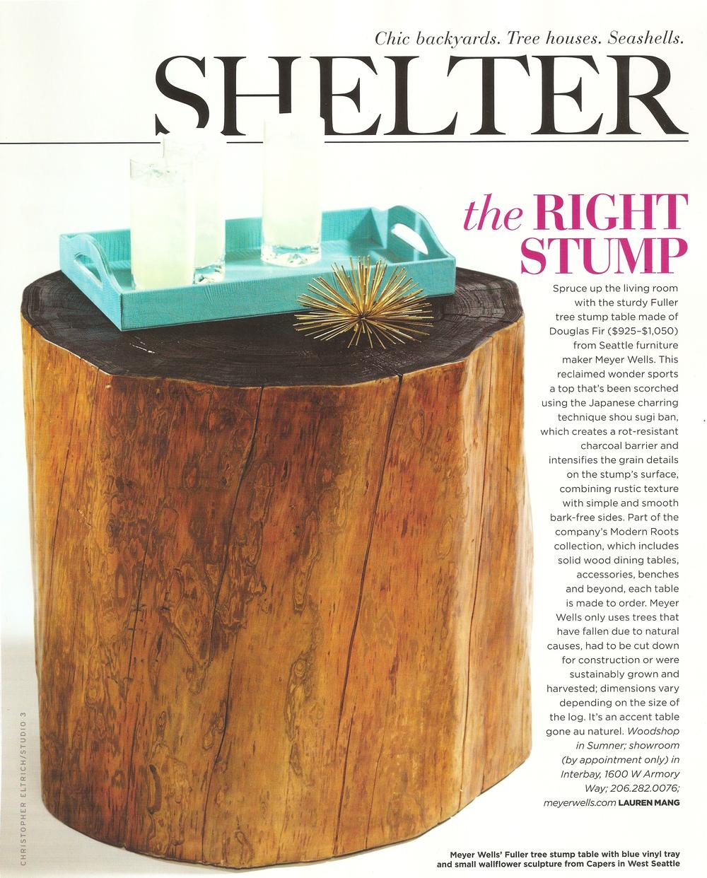 reclaimed fir stump table