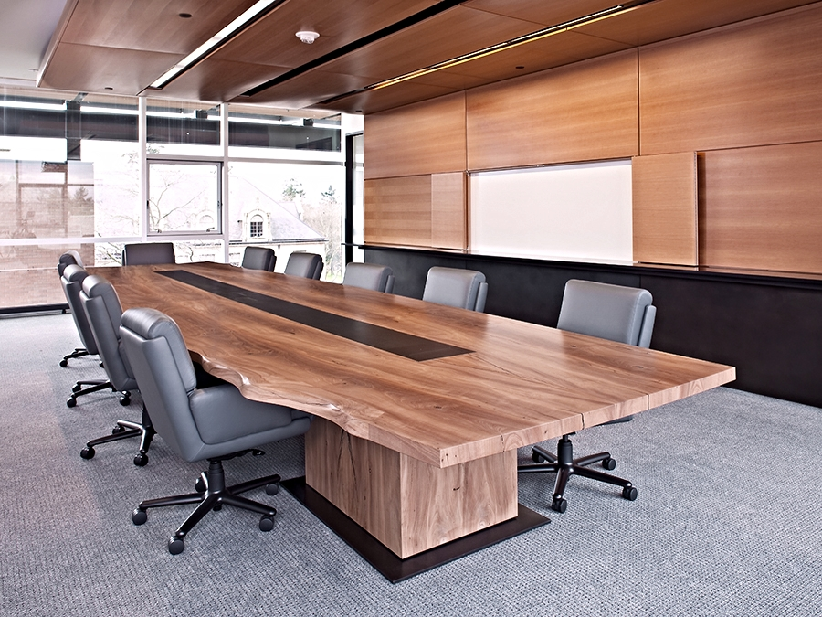 live edge madrone conference table with data