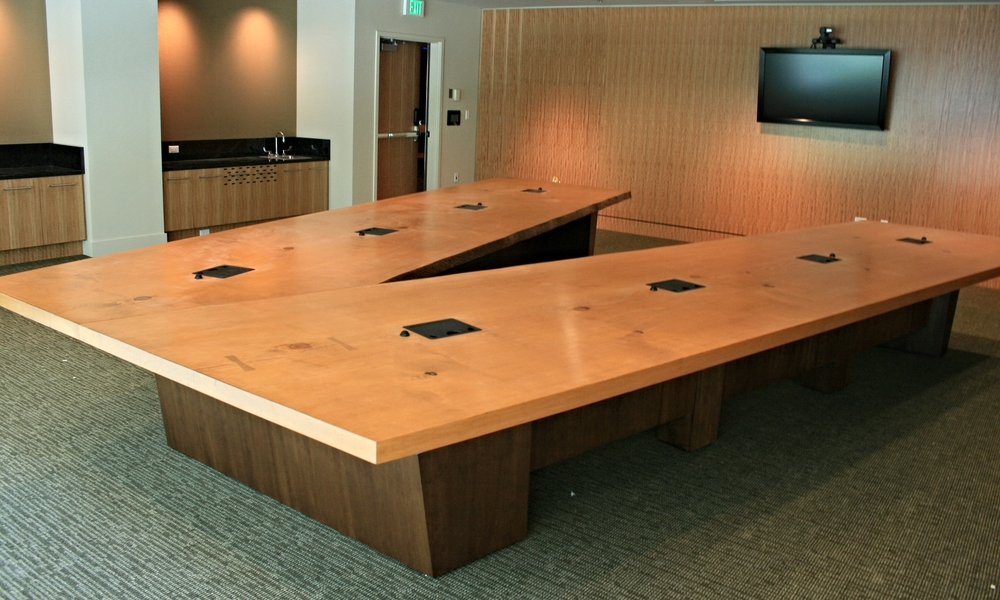 square edge fir v-shaped conference table with data