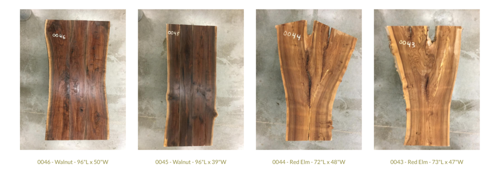 Our featured wood slab table tops waiting for your final touches.