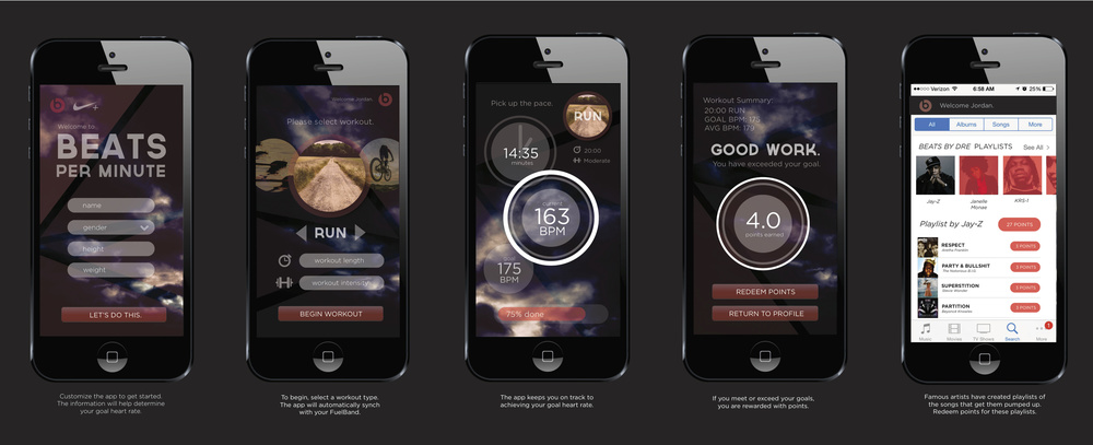 A new app by Beats and Nike+ Fuelband that rewards users for pushing themselves to exceed personal goals.