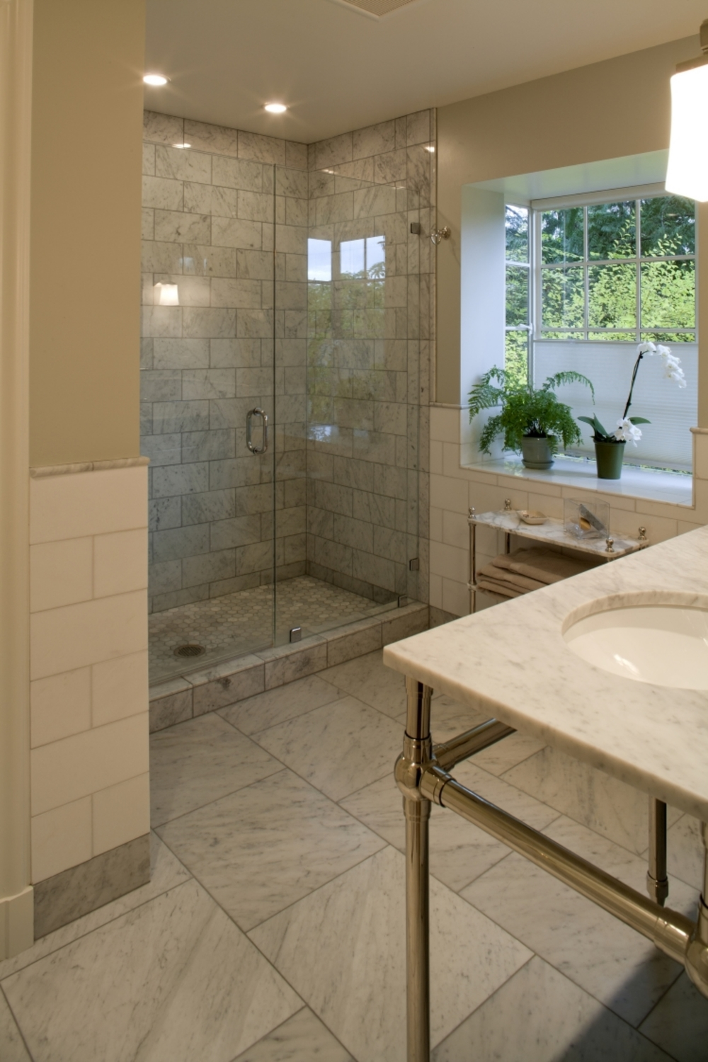 Master Shower with Calacatta Marble tile.