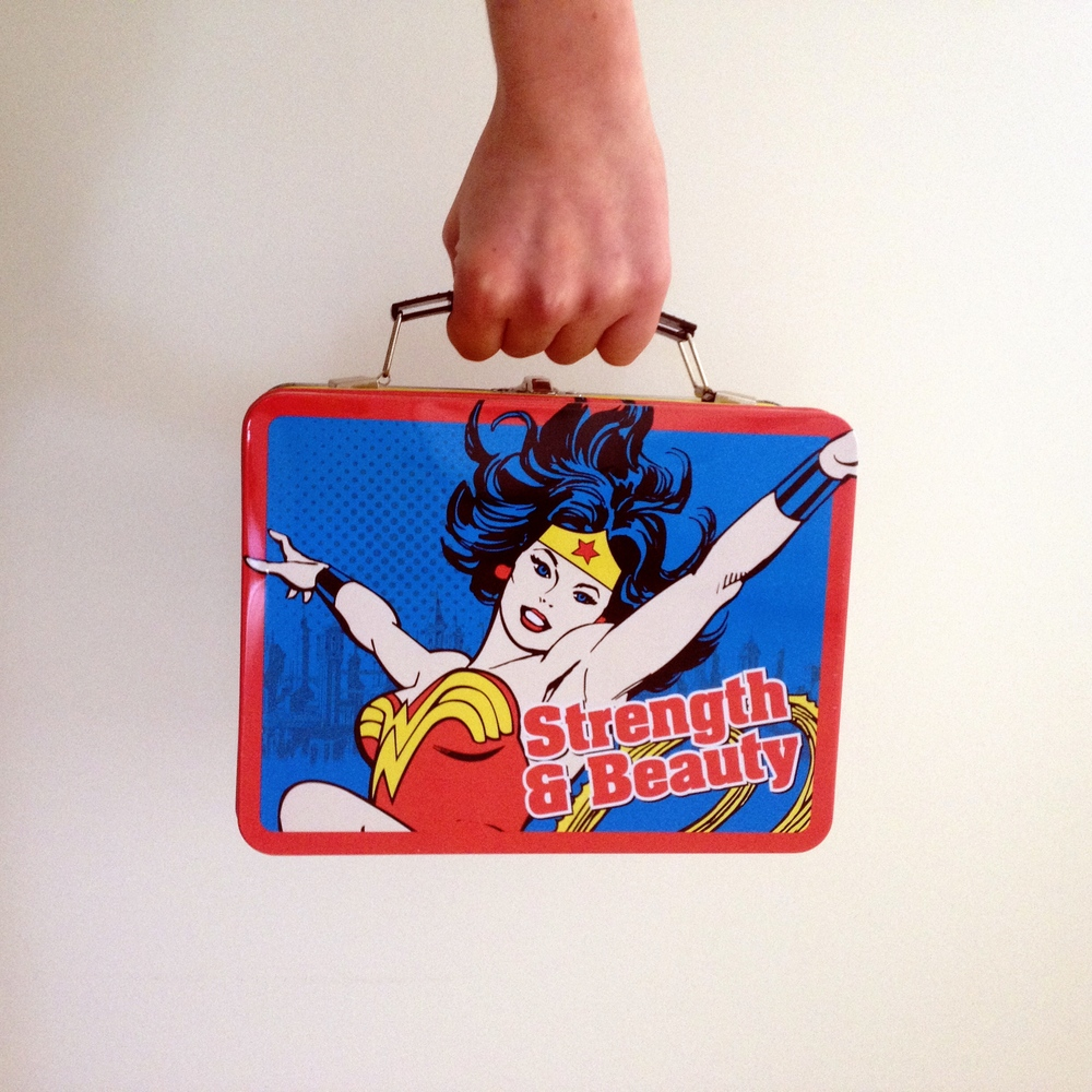 My Wonder Woman lunch box. i have know idea where i found this, but i love it.