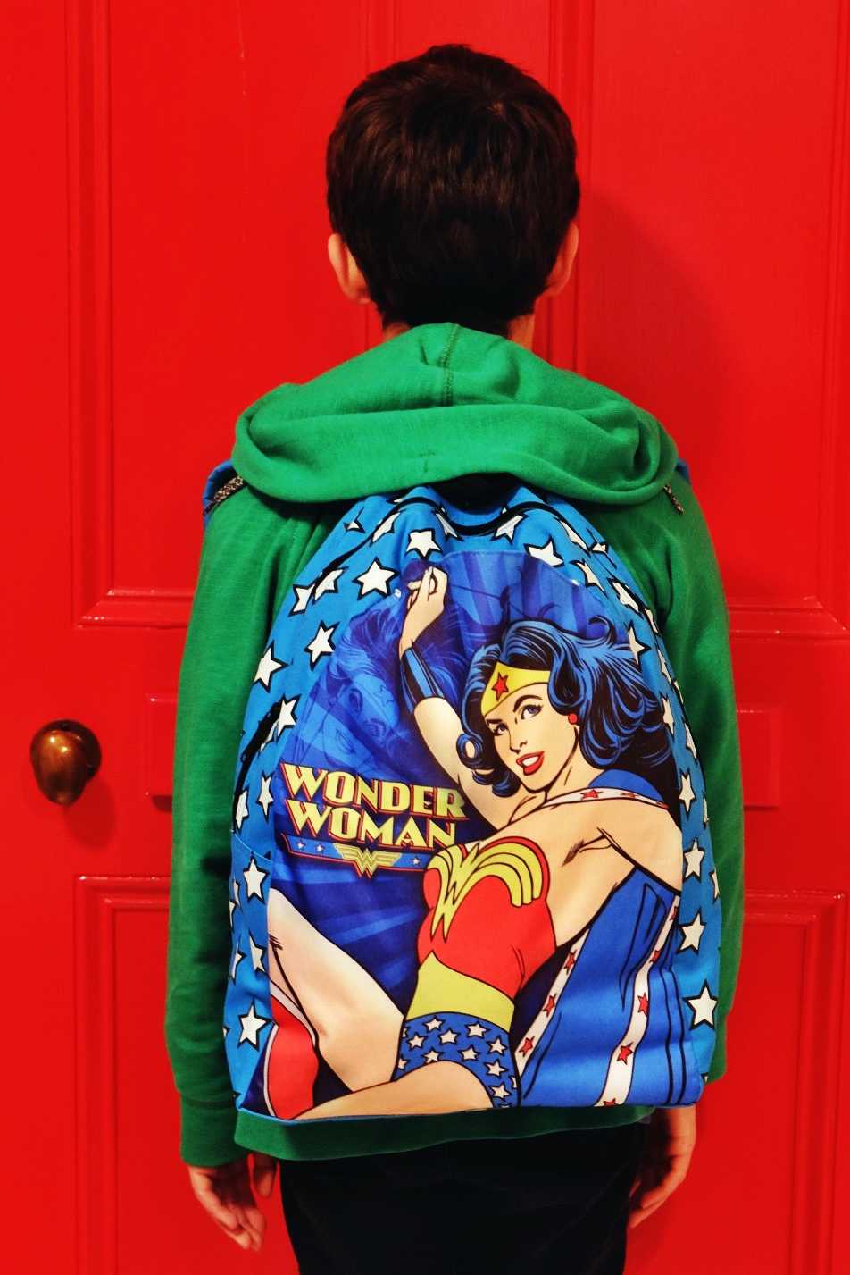 wonder woman back park is $25 from  The Warehouse  (and it has a super hero cape hidden inside)