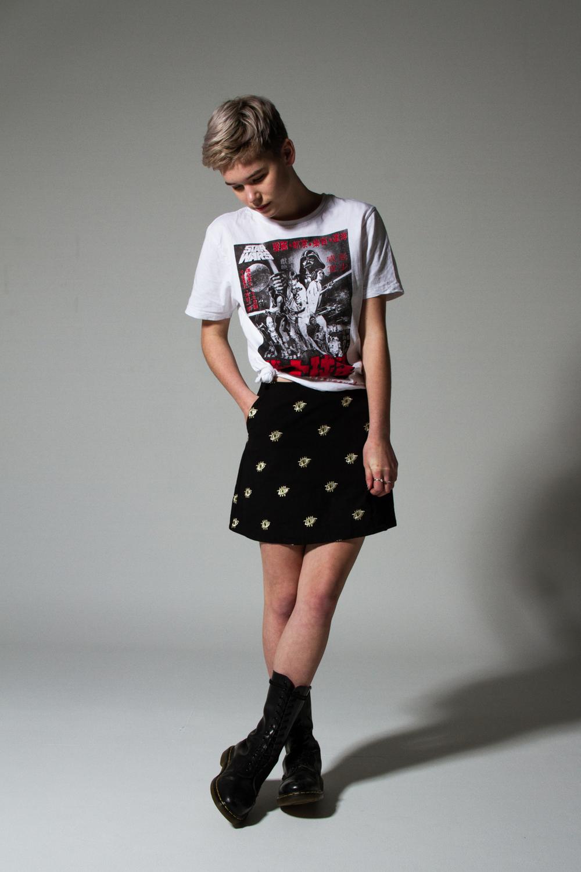 Portraits Miniskirt $229 with a K-mart tee & Dr Martens