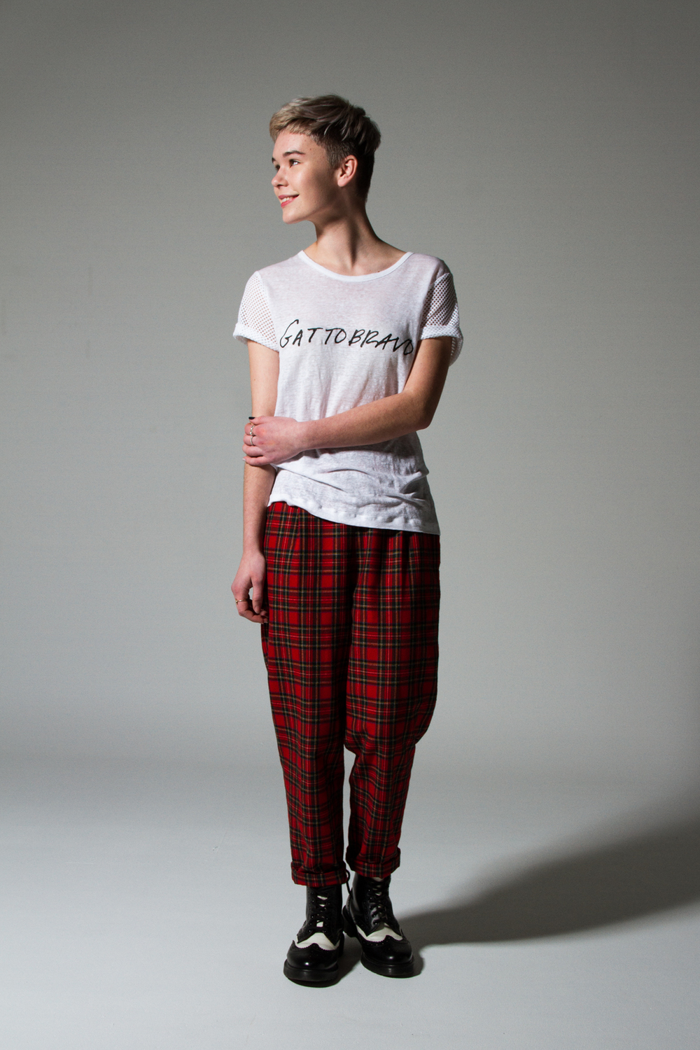 Gattobravo T Shirt $129 with opshop pants & Dr Martens