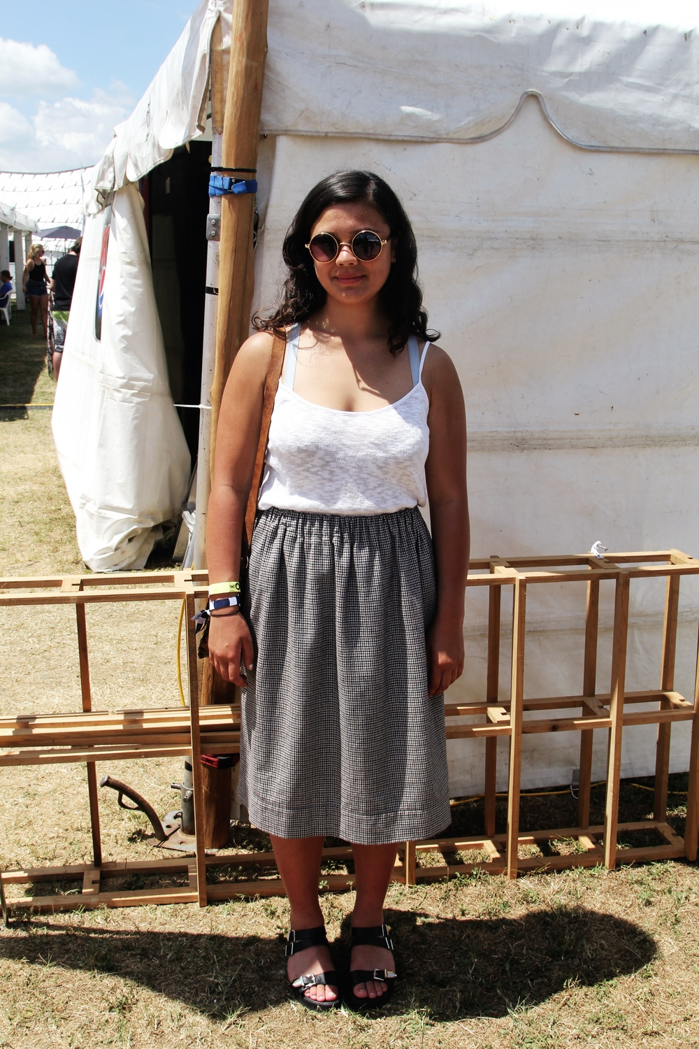 Samara wearing a  Recycle Boutique  Skirt with a  Federation  top, sunnies off Ebay, an opshop bag and sandals from  Glassons