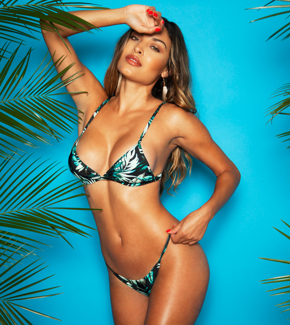 PALM PRINT TRIANGLE LOW RISE CHEEKY TWO PIECE BIKINI $24.99
