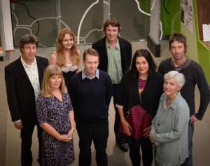 L-R: Anthony Lynch, Maria Takolander, Jo Langdon, David McCooey, Brendan Ryan, A. Frances Johnson, Diane Fahey, Cameron Lowe. Photo: Reg Ryan