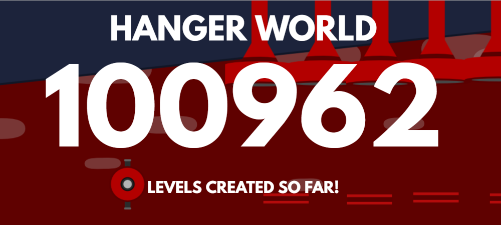We have reached the biggest milestone this far - 100 000 levels created in Hanger World! And it's all thanks to you amazing players that keep playing Hanger World and make your own levels that you share with each other. It's amazing to see how this community is growing and being a part of it all! To celebrate this huge number of levels, here is some of the levels you have made! Use it as an inspiration to continue creating new levels that are even harder and funnier to play! If you want us to see your level - tweet it at us! @ASmallGame