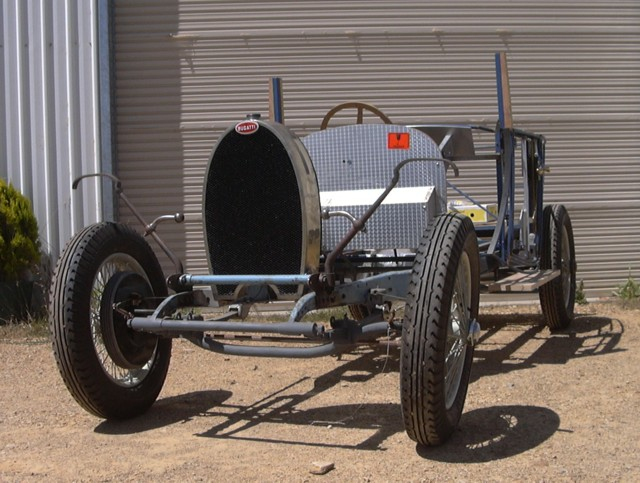 The Bugatti chassis and tubular body frame were put together by the owner in an attempt to replicate one of Bugatti's most iconic cars.