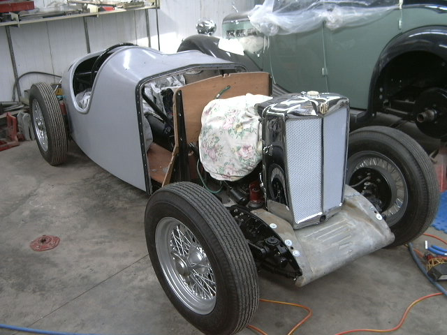 The M.G. Special was delivered with a fibreglass body already fitted. The bonnet was hand formed from sheet steel to the customer's specifications.