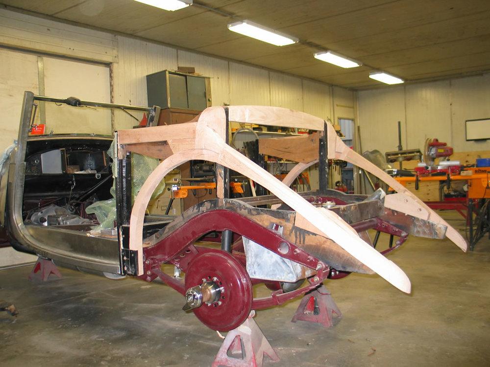 Riley Sedanca rear timber frame manufacture