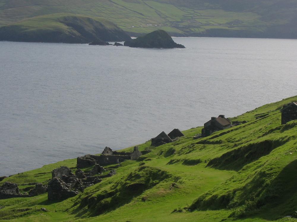 Het in de jaren 50verlaten Great Blasket, op Great Blasket Island aan de westkust van Ierland.