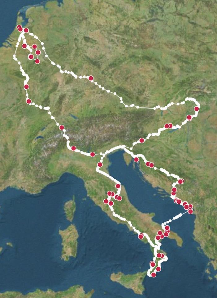 De reis van eind juni tot half augustus: Balkan en Italië