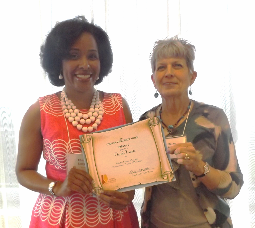 Chanda Temple receives her 2015 AMP Award for a marketing campaign.