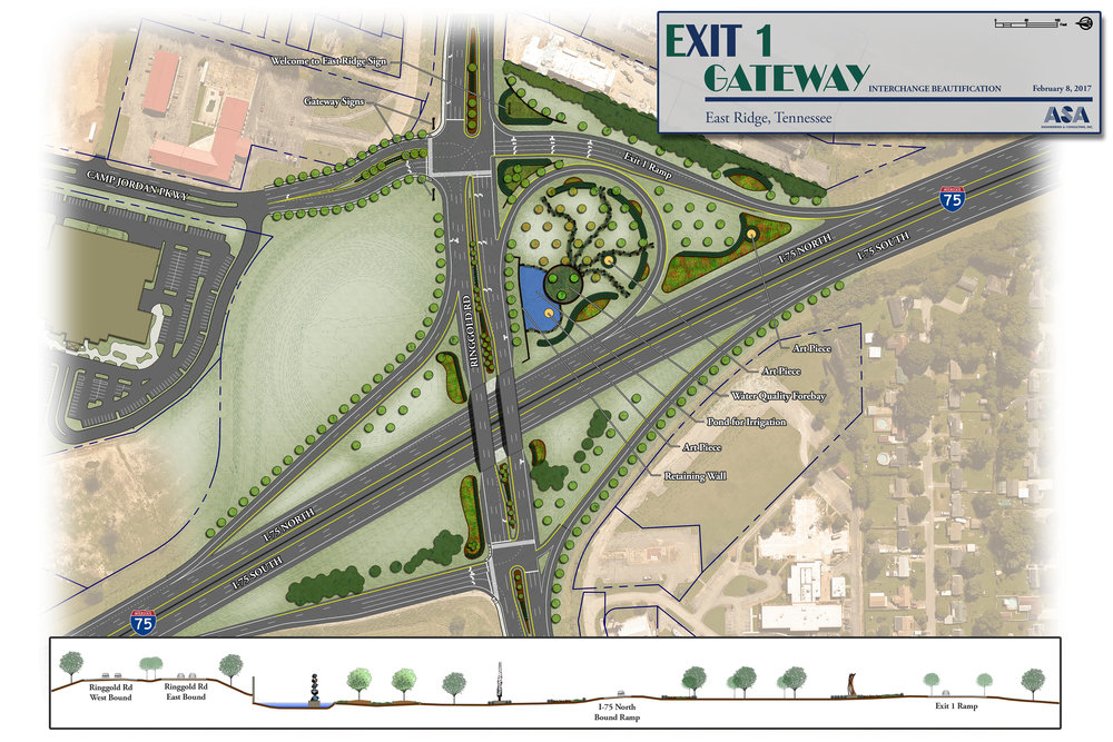 I-75 Exit One Gateway Beautification Concept - East Ridge, TN
