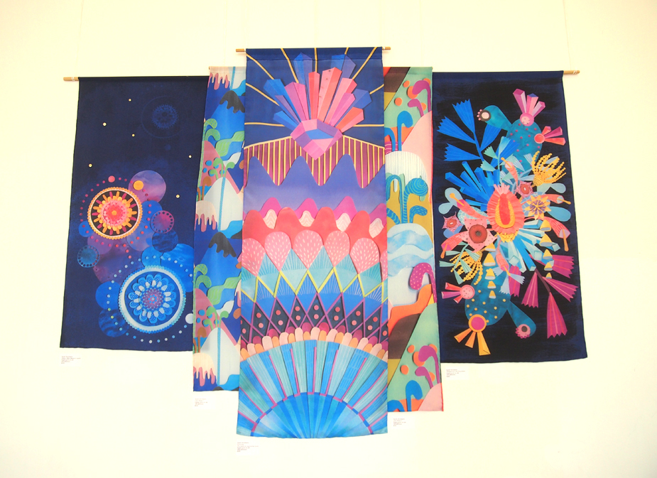 My work! All printed digitally on silk with  HAND  rolled hems.