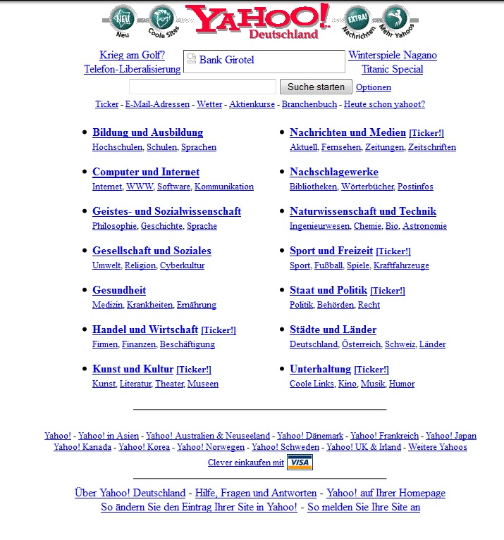 Die Startseite von Yahoo Anno 1998
