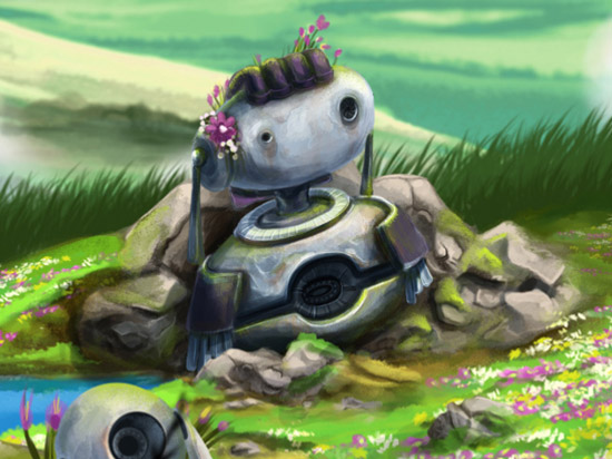 Little Bot - I'm a big fan of Studio Ghibli and much of my paintings draw inspiration from it. Little bot has crashed at the top of a mountain and is forever guarded by her companion. Many of the animations change depending on time of day and weather.