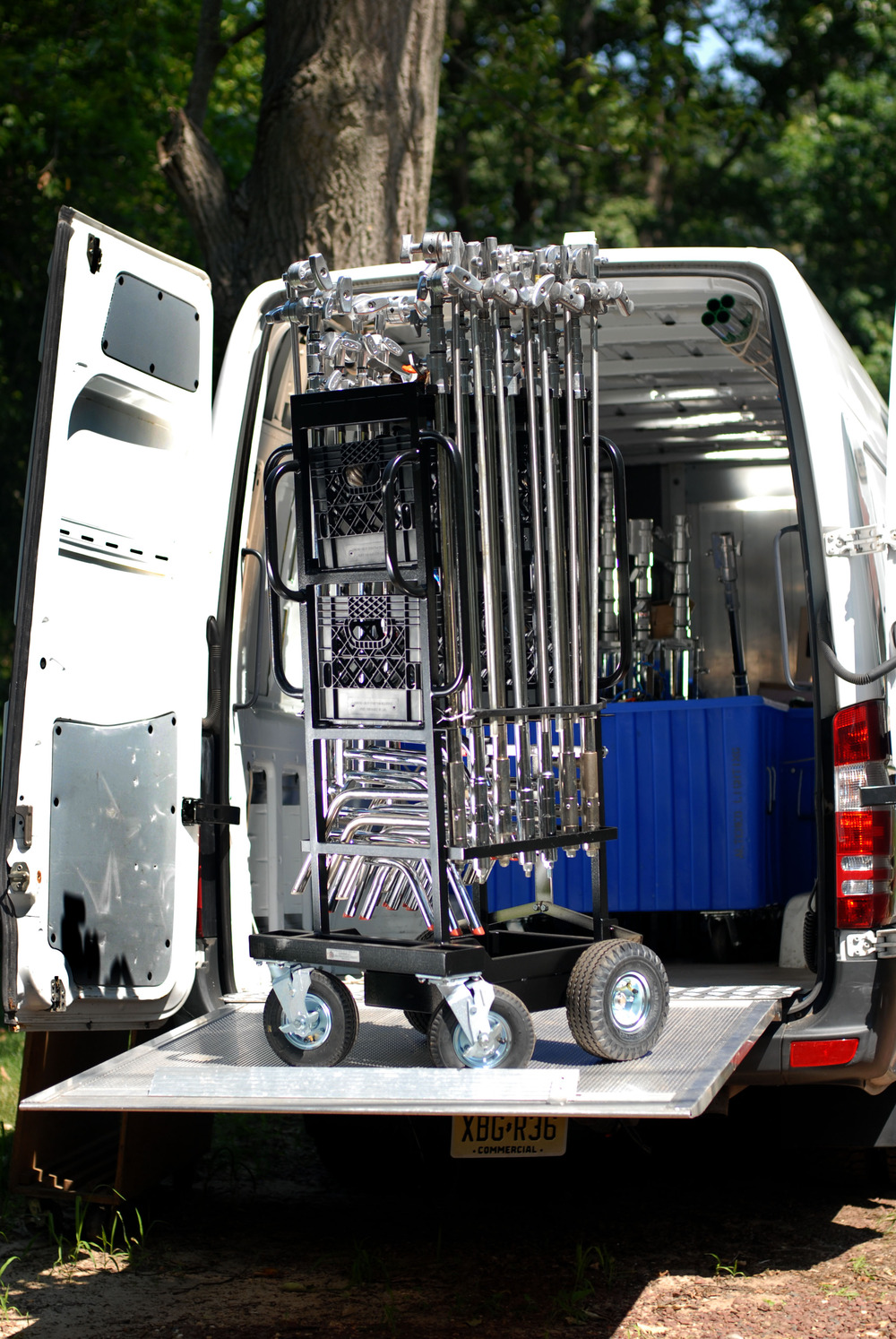 The Sprinter Van carries up to the 2.5 ton Packages.    For safety and speed, it has a leveling lift gate rated at 1,100lbs.    The lift gate has enabled us to add large carts to the package.    4x4 cart, 12 C-stand cart and 800lb sandbag cart are a must on any job.    They roll off the gate in into staging very quickly.    Most importantly, the lift gate reduces crew bitching by 83.6%.