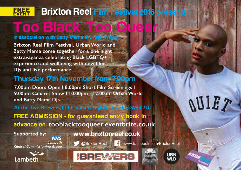 Too Black Too Queer event flyer
