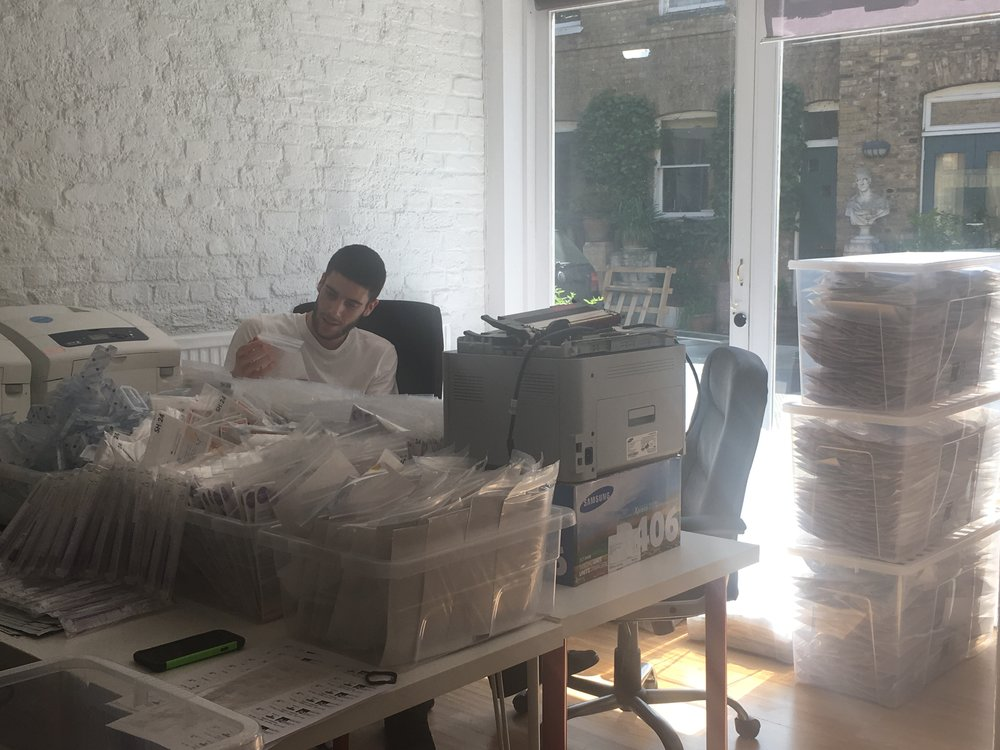 Picking and packing the kits in the distribution hub.