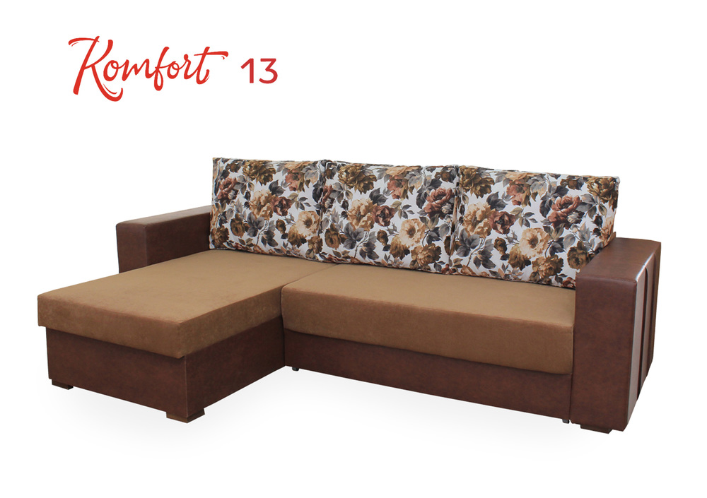 Komfort 13      Frame - pine timber,      Filling - chipboard, laminated chipboard, fiberboard, box spring, felt, polyurethane foam, padding polyester, interlining, upholstery material      Niche for linen - Available      The mechanism of transformation - evroknizhka      The total size (length / width / height) - 2.40 x1.60x0.80         Sleeper deposits 1.96x1.40