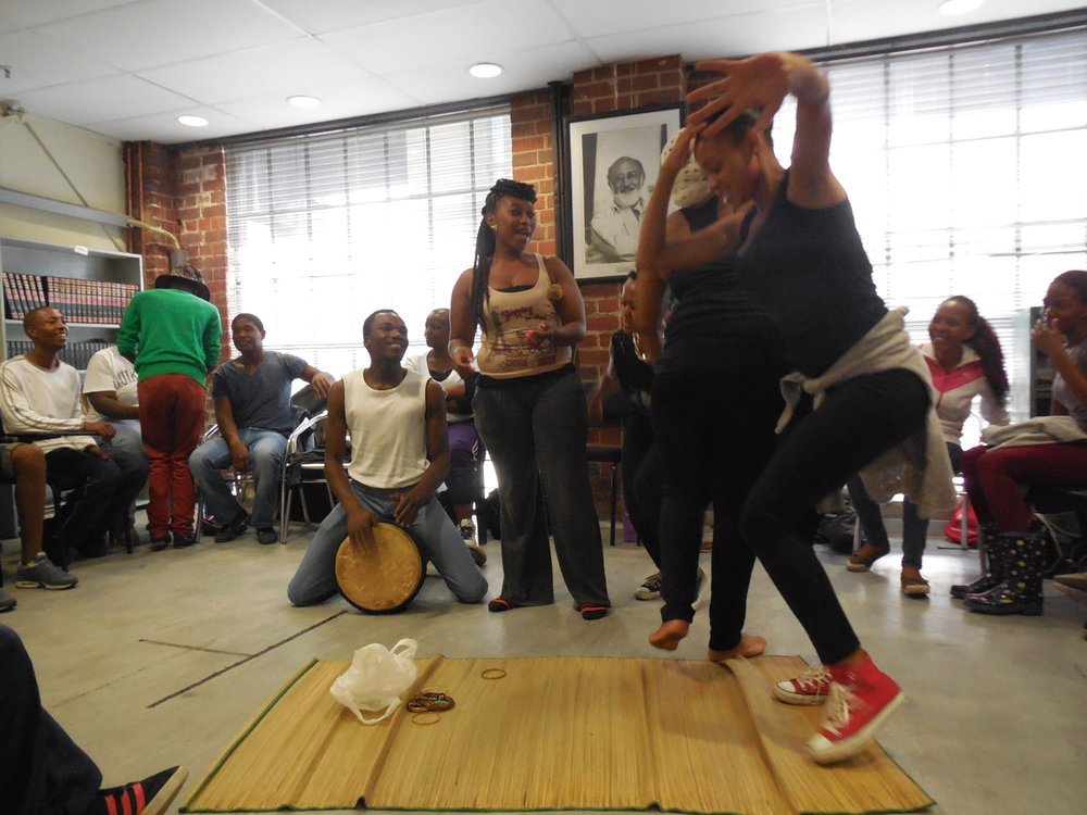 """February 2014: A """"Theatre and Life"""" class at the Market Theatre laboratory in downtown Johannesburg.The pedagogy or teaching of ethics is a central theme in my research."""