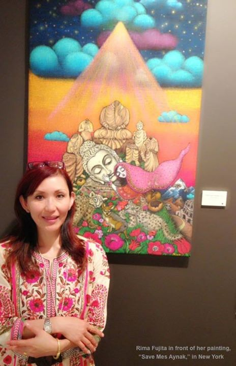 Artist Rima Fujita with her painting, Save Mes Aynak