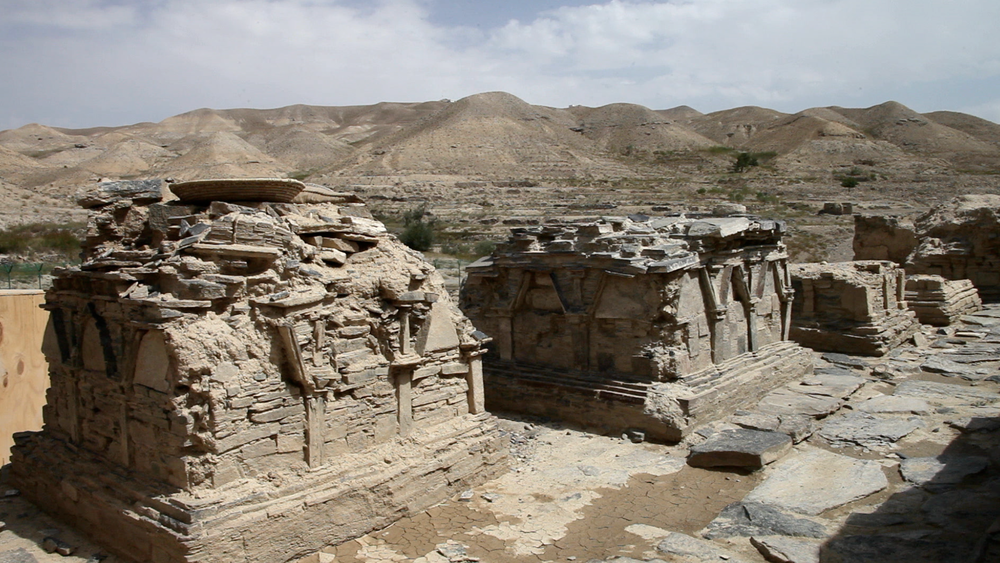 Some of the remaining structures found at Mes Aynak. These two pieces are stupas, and are estimated to be around one thousand years old.