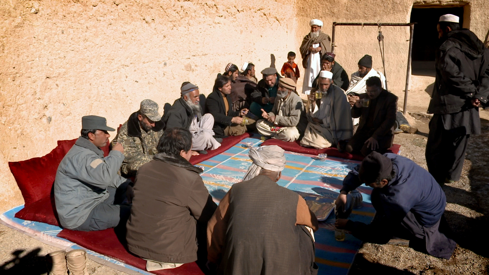 At a meeting of village elders to discuss what to do about fighting back against the Afghan government and the MCC.