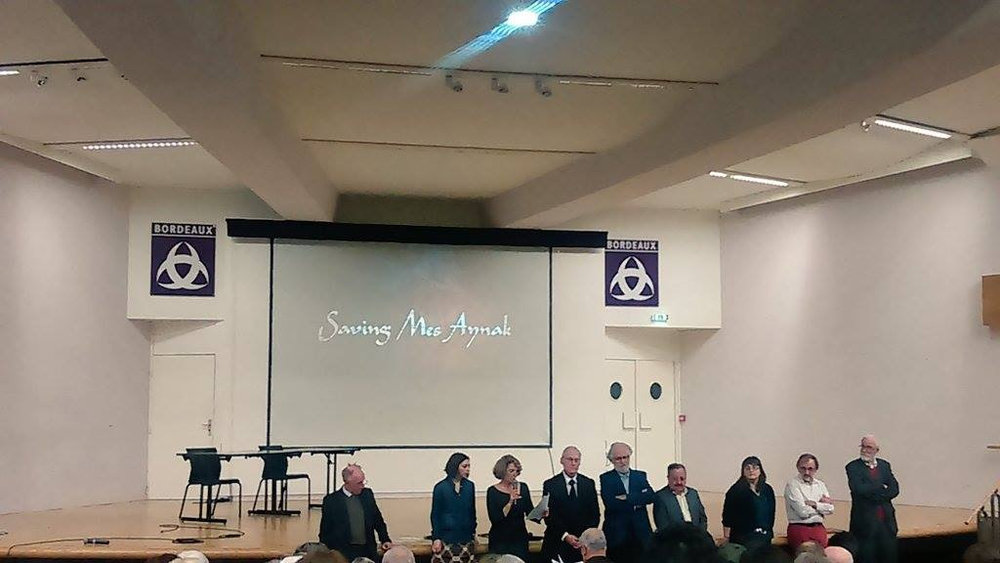 "Panelists announce ""Saving Mes Aynak"" as the Grand Prize winner at ICRONOS, France, to the 350+ person audience"