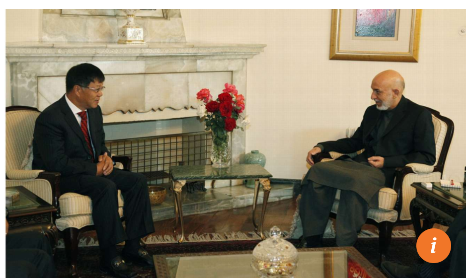 Shen Heting of MCC meets Afghan President Hamid Karzai at the Presidential Palace in Kabul on October 18, 2012. Photo: Handout