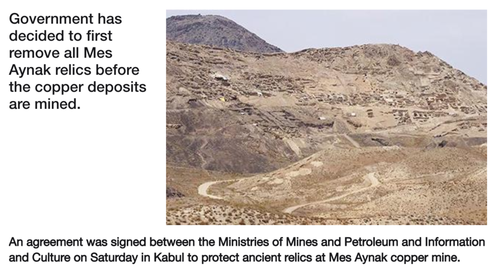 "Source : "" Agreement Signed To Protect Mes Aynak Relics "" Tolo News"