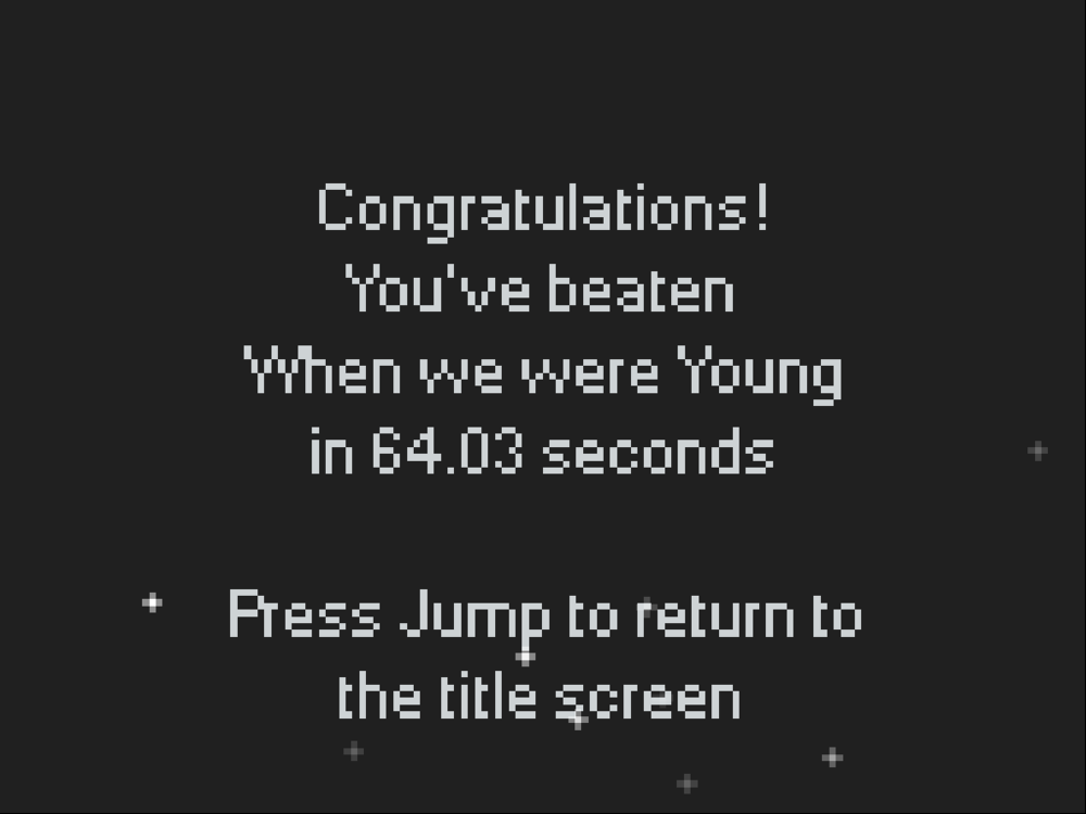 Beat the game in less than 3 minutes to see your exact time!