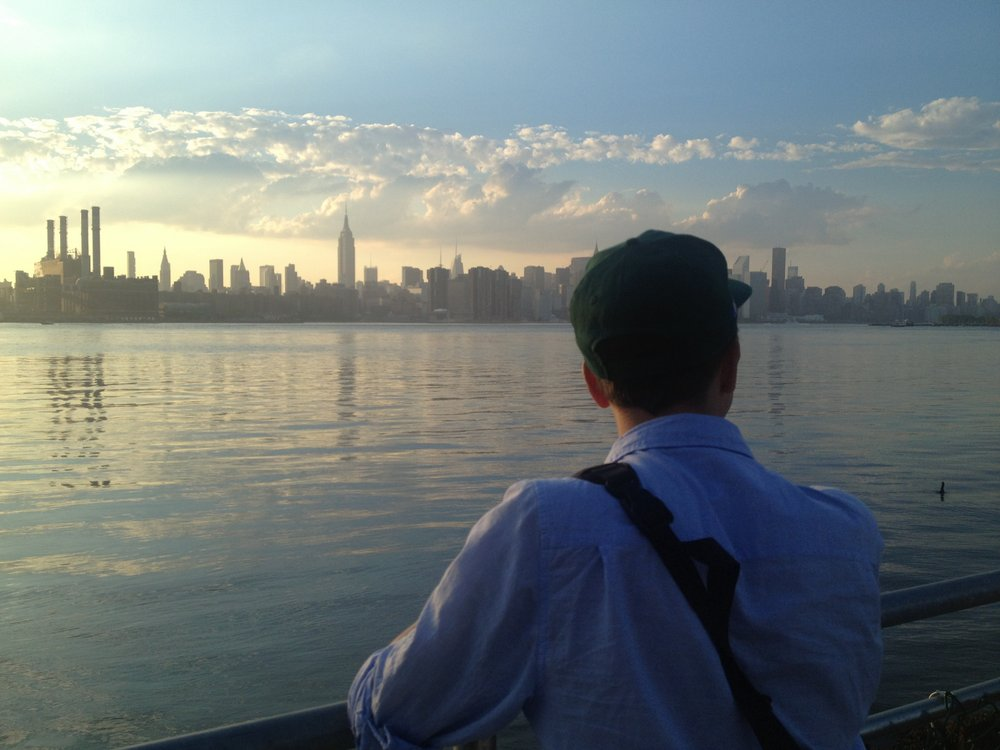 Nicolas and a duck Brooklyn, NY June 2013   Sometimes at sunset, Manhattan looks just like a dream. This was one of those days. I took this on my phone knowing there was no way to reproduce how spectacular it was, but wanting a record anyway.